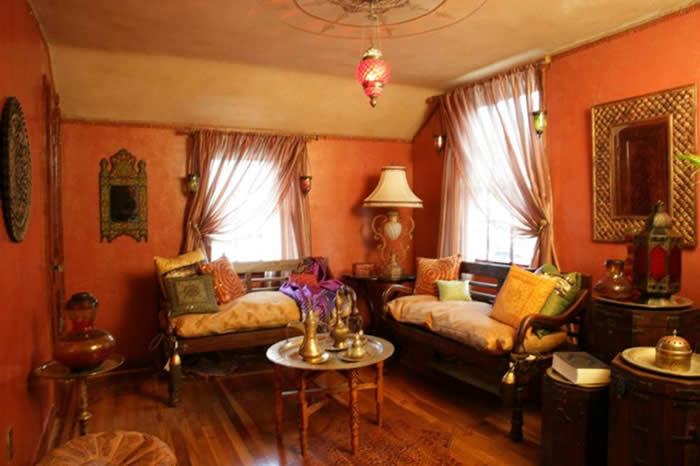 moroccan-themed-bedroom plaster walls, patina ...